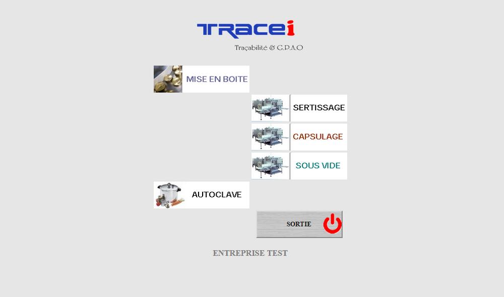 Menu alternatif selon droit utilisateur - opérateur.  logiciel de gestion de production et de traçabilité Agro-alimentaire Tracei.