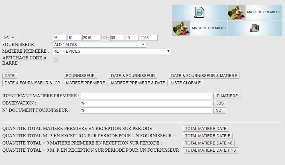 Recherche matiere premiere. logiciel de gestion de production AgroAlimentaire Tracei