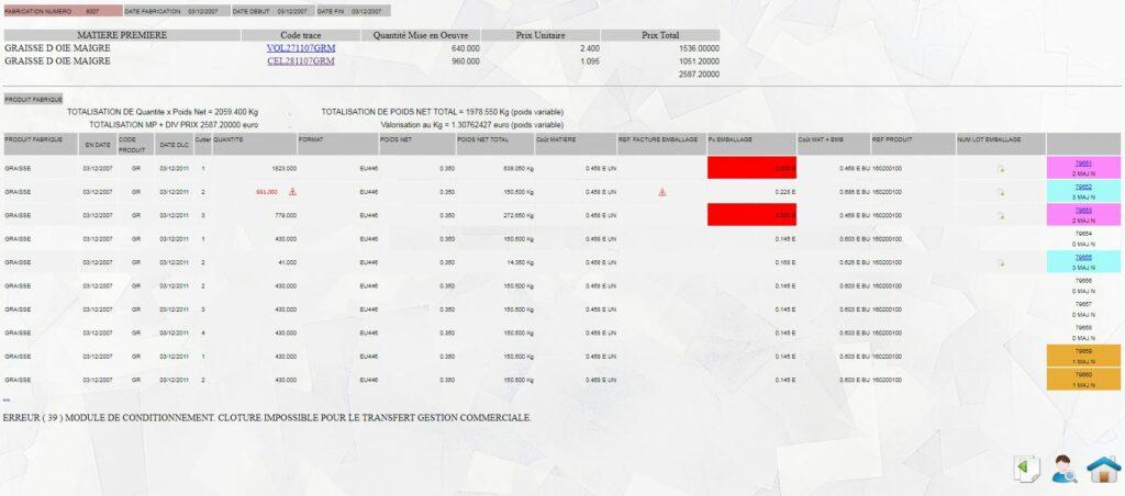Fiche de fabrication de produit fini - version administrateur. logiciel de gestion de production Tracei